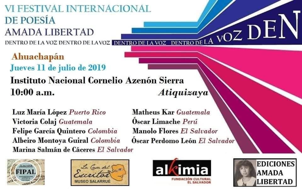 Festival de poesía Amada Libertad. Atiquizaya 11 julio 2019 0