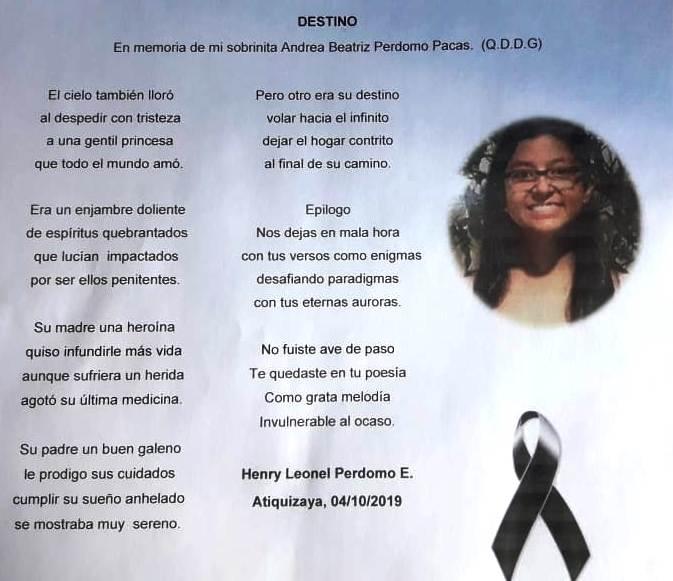 Poema de Henry Leonel Perdomo Escobar para Beatriz Andrea Perdomo Pacas